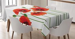 Ambesonne Floral Tablecloth, Poppies of Spring Season Pastor