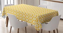 Floral Tablecloth by Ambesonne, Monochrome Geometric Ornamen