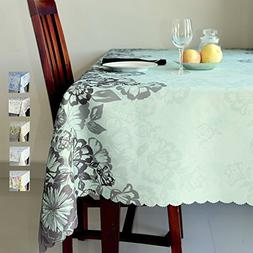 AHOLTA DESIGN Floral Turquoise Rectangle Tablecloth Stain Re