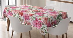 Flower Decor Tablecloth for Mothers Day by Ambesonne, Peonie