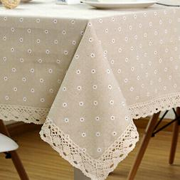 Flower Pattern Tablecloth Linen Cotton Table Cloth with Lace