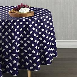 "Fabric Textile Products Freedom Stars Navy Tablecloth 90"" Ro"