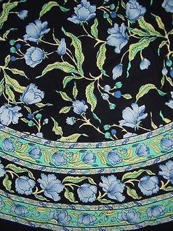 """India Arts French Floral Round Cotton Tablecloth 72"""""""