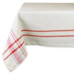DII French Stripe Tablecloth - Red - 84L x 60W in.
