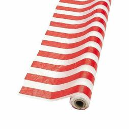 Fun Express Red and White Striped Tablecloth Roll  Party Sup