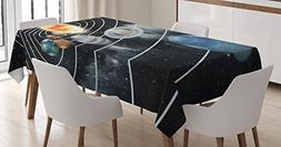 Ambesonne Galaxy Tablecloth, Solar System All Eight Planets