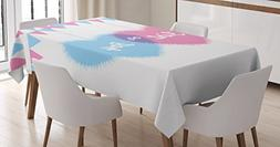 Ambesonne Gender Reveal Decorations Tablecloth, Girl and Boy