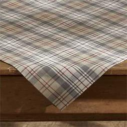 Gentry Plaid Table Cloth Topper Taupe Tan Gray Cream Red Far