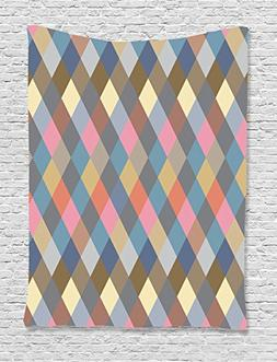Ambesonne Geometric Decor Collection, Colorful Rhombus Rural