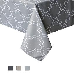 Eforcurtain Grey and White Trellis Tablecloths Water Proof T