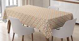 Ambesonne Geometric Tablecloth, Six Pointed Stars Pattern Ov