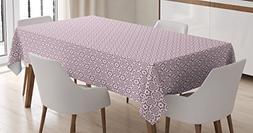 Ambesonne Geometric Tablecloth, Six Pointed Star Motif with