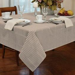 """GINGHAM CHECK BEIGE WHITE ROUND 60"""" 152CM TABLE CLOTH"""
