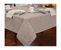 "GINGHAM CHECK BEIGE WHITE ROUND 60"" 152CM TABLE CLOTH"