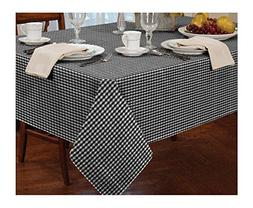 "GINGHAM CHECK BLACK WHITE ROUND 72"" 183CM TABLE CLOTH"