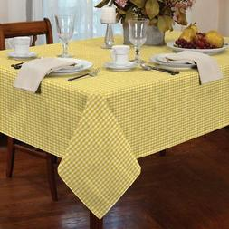 """GINGHAM CHECK YELLOW WHITE SQUARE 54X54"""" 137X137CM TABLE C"""