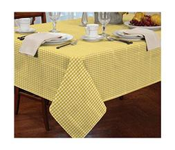 "GINGHAM CHECK YELLOW WHITE SQUARE 54X54"" 137X137CM TABLE C"