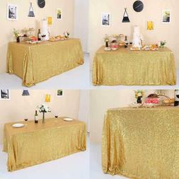 GFCC Glitter Gold Sequin Tablecloth 60x126 Sparkle Party Wed