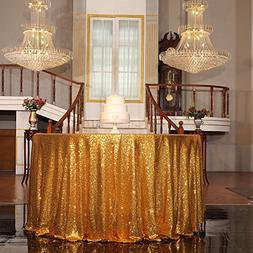 """PartyDelight Gold Sequin Tablecloth Round 108"""" Table Linen f"""
