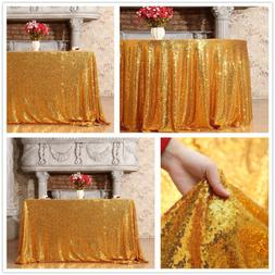 Gold Sequin Tablecloth Sparkling Gold Table Overlay for Wedd