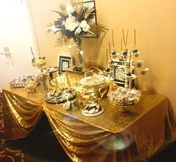 SoarDream 50x80 Inch Gold Sequin Tablecloth for Wedding/Part