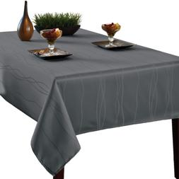 Benson Mills Gourmet Spillproof Fabric Tablecloth, Charcoal,