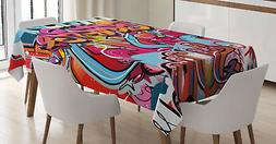 Graffiti Tablecloth Hip Hop Street Art Rectangular Table Cov
