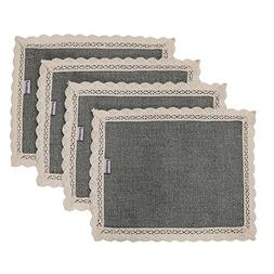 Nobildonna Gray 10x13 Inch Lace Placemats Set of 4 Heat Insu