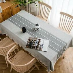 MoMA Gray Stitched Fringe Table Cloth  - Cotton Linen Table