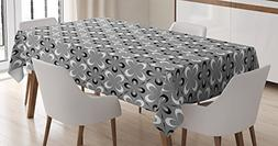 Grey Decor Tablecloth by Ambesonne, Contemporary Floral Grap