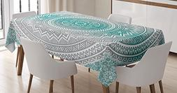 Grey and Teal Tablecloth by Ambesonne, Mandala Ombre Design