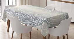 Ambesonne Grey and White Tablecloth, Medallion Pattern Round