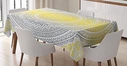 Grey and Yellow Tablecloth by Ambesonne, Soft Pastel Color O