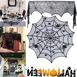 Halloween Black Lace Spider Web Table Fireplace Scarf Hallow