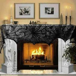 Halloween Cobweb Fireplace Scarf Lace Spiderweb Mantle Cover