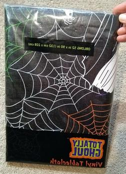 Halloween/Fall Vinyl Tablecloth/Cover-Black/Spiders/Witch-52