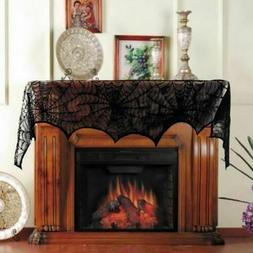 Halloween Fireplace Mantle Scarf Cover Lace Spiderweb Table