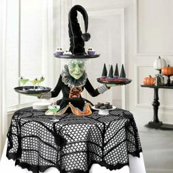 Halloween Lace Table Topper Black Spider Web Table Cloth Eve