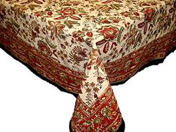 Handmade Jaipur floral Print 100% Cotton Tablecloth Earthern