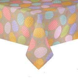 Happy Easter Decorated Eggs Print Fabric Tablecloth