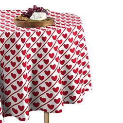 hearts diagonal stripe tablecloth round