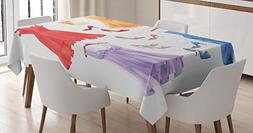 Ambesonne Heels and Dresses Tablecloth, Festive Attire for P