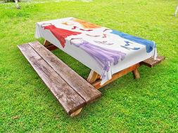 Ambesonne Heels and Dresses Outdoor Tablecloth, Festive Atti