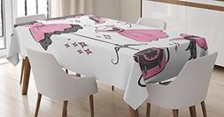 Ambesonne Heels and Dresses Tablecloth, Boutique Inspired De