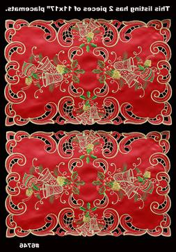 Holiday Christmas Bell Ornament Placemats Table Cloth Runner