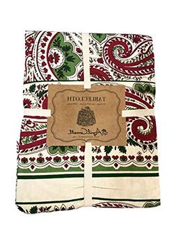 April Cornell Holiday Christmas Paisley Tablecloth in Red, G