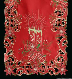 Holiday Christmas Poinsettia Candle Placemat Table Cloth Run