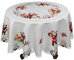 """Creative Linens Holiday Christmas Tablecloth 68"""" Round wit"""