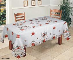 Creative Linens Holiday Christmas Tablecloth 70x90 with 8 Na