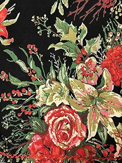 April Cornell Holiday Tablecloth Vibrant Floral on Black 100